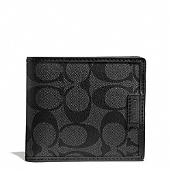 COACH F74739 Heritage Signature Double Billfold CHARCOAL/BLACK