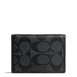 COACH F74742 Heritage Signature Slim Passcase Id Wallet CHARCOAL/BLACK