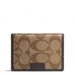 COACH F74742 Heritage Signature Slim Passcase Id Wallet SILVER/KHAKI/BROWN