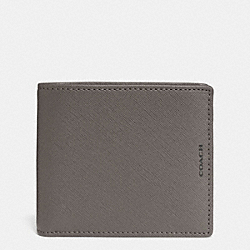 COACH F74768 Lexington Saffiano Compact Id Wallet STERLING