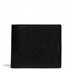COACH F74771 Lexington Id Coin Wallet In Saffiano Leather BLACK