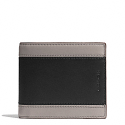 COACH F74792 Heritage Sport Compact Id Wallet SLATE/BLACK