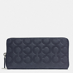 COACH F74802 - ACCORDION ZIP WALLET IN OP ART EMBOSSED LEATHER  NAVY