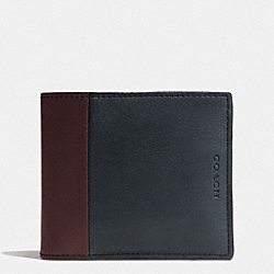 COACH F74818 - BLEECKER COMPACT ID WALLET IN HARNESS LEATHER NAVY/CORDOVAN