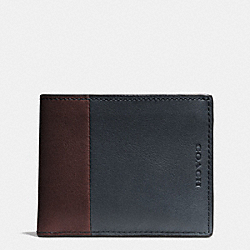 COACH F74819 - BLEECKER SLIM BILLFOLD ID WALLET IN HARNESS LEATHER  NAVY/CORDOVAN