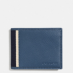COACH F74880 - HERITAGE WEB LEATHER SLIM BILLFOLD ID WALLET  SILVER/MARINE