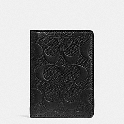 COACH F74913 Slim Bifold Card Case In Signature Crossgrain Leather BLACK