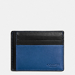 COACH F74959 Id Card Case In Colorblock Sport Calf Leather DENIM/BLACK