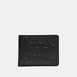 SLIM BILLFOLD WALLET IN SIGNATURE LEATHER - F74962 - BLACK