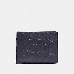 COACH F74962 - SLIM BILLFOLD WALLET IN SIGNATURE LEATHER MIDNIGHT