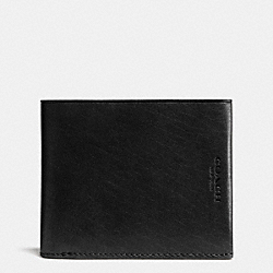 COACH F74966 - MODERN BILLFOLD WALLET IN WATER BUFFALO LEATHER BLACK/LIGHT SADDLE