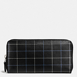 COACH F74975 - ACCORDION ZIP WALLET IN NOVELTY LEATHER  BLACK TATTERSALL