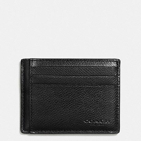 COACH f74983 SLIM CARD CASE IN CROSSGRAIN LEATHER BLACK