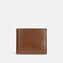 COMPACT ID WALLET IN SPORT CALF LEATHER - f74991 - DARK SADDLE