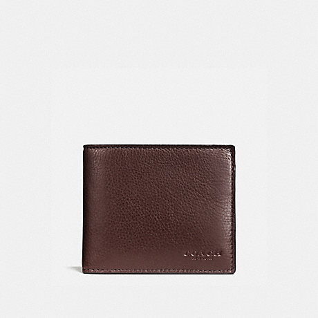 3155d2c68803 COACH F74991 - COMPACT ID WALLET IN SPORT CALF LEATHER - MAHOGANY ...