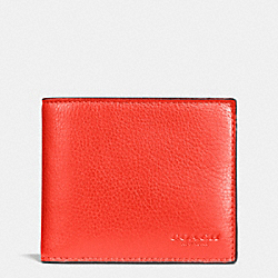 COACH F74991 - COMPACT ID WALLET IN SPORT CALF LEATHER ORANGE