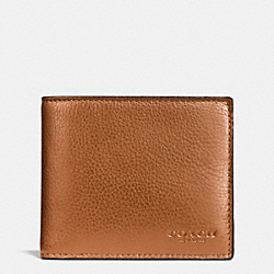 COACH F74991 - COMPACT ID WALLET IN SPORT CALF LEATHER SADDLE
