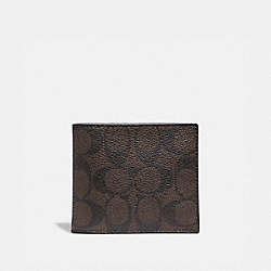COMPACT ID WALLET IN SIGNATURE CANVAS - F74993 - MAHOGANY/BLACK/BLACK ANTIQUE NICKEL