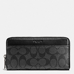 COACH F75000 - ACCORDION WALLET IN SIGNATURE CHARCOAL/BLACK