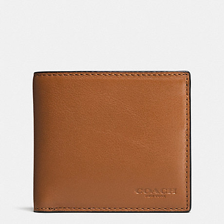 COACH f75003 COIN WALLET IN SPORT CALF LEATHER SADDLE