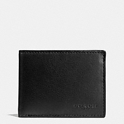 COACH F75016 - SLIM BILLFOLD ID WALLET IN SPORT CALF LEATHER BLACK
