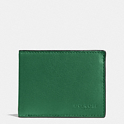 COACH F75016 - SLIM BILLFOLD ID WALLET IN SPORT CALF LEATHER GRASS