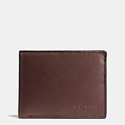 COACH F75016 - SLIM BILLFOLD ID WALLET IN SPORT CALF LEATHER MAHOGANY