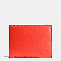 COACH F75016 - SLIM BILLFOLD ID WALLET IN SPORT CALF LEATHER ORANGE