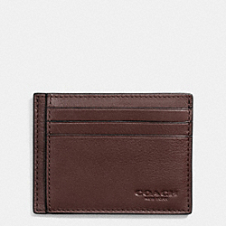 SLIM CARD CASE IN SPORT CALF LEATHER - f75022 - MAHOGANY