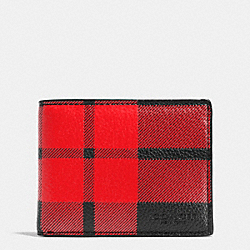 COACH F75082 Mount Plaid Slim Billfold Wallet In Pebble Leather RED/BLACK
