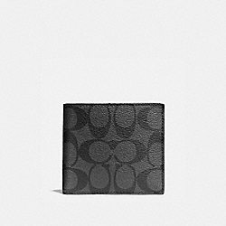 COACH F75083 Double Billfold Wallet In Signature CHARCOAL/BLACK
