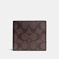 COACH F75083 - DOUBLE BILLFOLD WALLET IN SIGNATURE MAHOGANY/BROWN