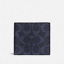 COACH F75083 Double Billfold Wallet In Signature MIDNIGHT