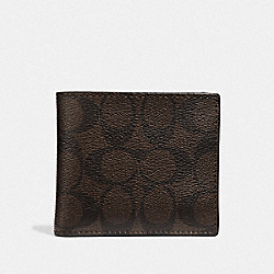COACH F75083 - DOUBLE BILLFOLD WALLET IN SIGNATURE CANVAS MAHOGANY/BLACK/BLACK ANTIQUE NICKEL