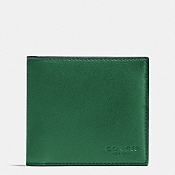 COACH F75084 Double Billfold Wallet In Calf Leather GRASS