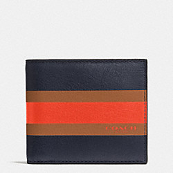 COACH F75086 - COMPACT ID WALLET IN VARSITY CALF LEATHER MIDNIGHT NAVY