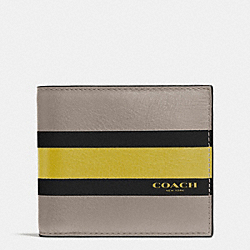 COACH F75086 Compact Id Wallet In Varsity Calf Leather FOG