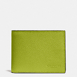 COACH F75093 Slim Billfold Wallet In Crossgrain Leather CITRINE