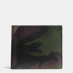 COMPACT ID WALLET IN CAMO PRINT COATED CANVAS - f75101 - GREEN CAMO
