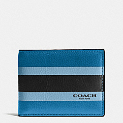COACH F75138 Slim Billfold Id Wallet In Varsity Sport Calf Leather DENIM