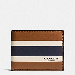 COACH F75138 - SLIM BILLFOLD ID WALLET IN VARSITY SPORT CALF LEATHER SADDLE