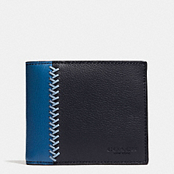 COMPACT ID WALLET IN BASEBALL STITCH LEATHER - f75170 - MIDNIGHT NAVY