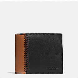COACH F75170 Compact Id Wallet In Baseball Stitch Leather BLACK