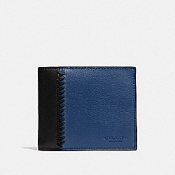 COMPACT ID WALLET IN BASEBALL STITCH LEATHER - f75170 - INDIGO/BLACK