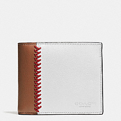 COACH F75170 - COMPACT ID WALLET IN BASEBALL STITCH LEATHER CHALK/SADDLE