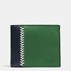 COACH F75170 Compact Id Wallet In Baseball Stitch Leather GRASS/MIDNIGHT