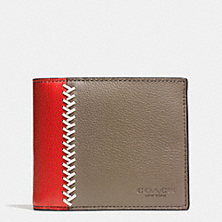 COACH F75170 Compact Id Wallet In Baseball Stitch Leather FOG
