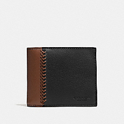 COACH F75170 Compact Id Wallet In Baseball Stitch Leather FOG/DARK SADDLE