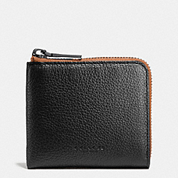 COACH F75172 Half Zip Wallet In Pebble Leather BLACK/SADDLE