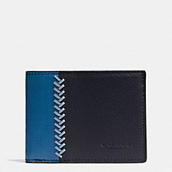 COACH F75178 Slim Billfold Id Wallet In Baseball Stitch Leather MIDNIGHT NAVY